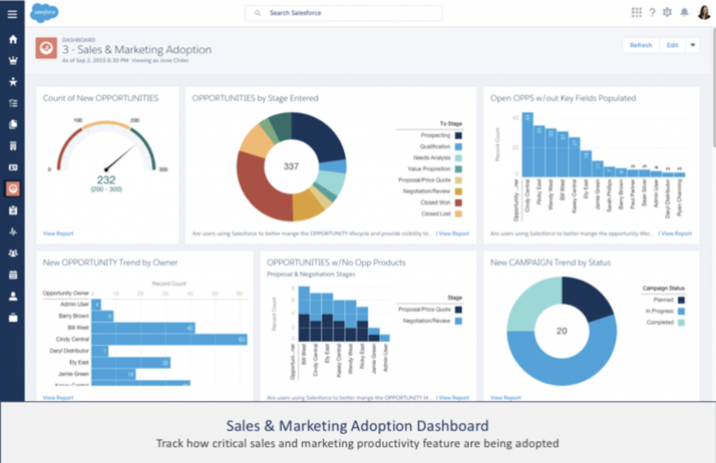 Salesforce adoption dashboard by Salesforce labs.