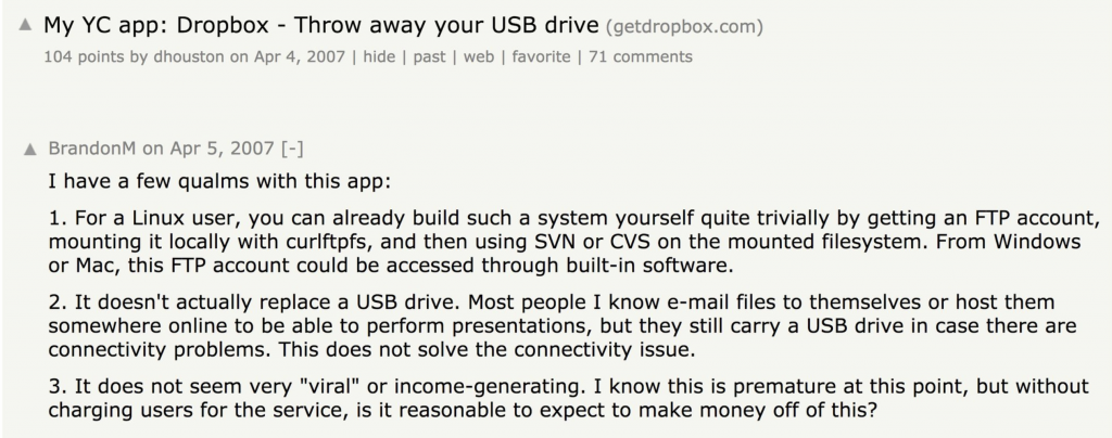 Hacker News DropBox Comments.